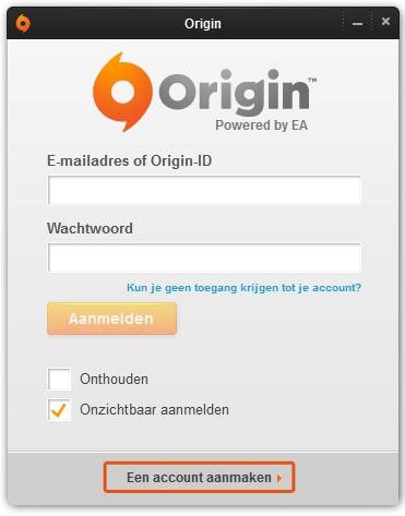Origin-account-aanmaken